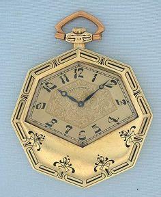 Touchon Swiss 18K Green Gold & Enamel Art Deco Antique Pocket Watch circa 1925