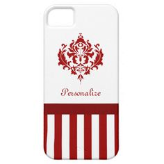 A chic red and white iPhone 5 Barely There Universal Case with elegant stripes decorated with a vintage style damask pattern. Personalize this classic European inspired mobile device cover by adding your name.