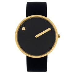 This watch has a steel dot that marks the hours and traditional minute hand, which remain stationary while the dial rotates presenting the illusion of the earth moving and time passing. Picto is the f