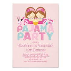 Twins Birthday Party Invitations Cute TWINS Tween Pajama Birthday Party Invitation