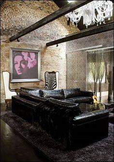 Lenny kravitz wallpaper line chadelier brick wall interior design Luxury Homes Interior, Home Interior Design, Interior And Exterior, Interior Decorating, Interior Designing, Lenny Kravitz, Wall Design, House Design, Decoration