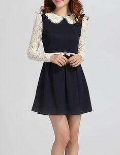 Cute white collar black dress w belt and long white laced sleeves