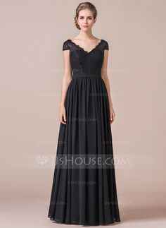A-Line  V-neck Floor-Length Zipper Up Cap Straps Short Sleeves No Black  Spring Summer Fall General Plus Chiffon Lace Bridesmaid Dress d7e2be0a1bc0