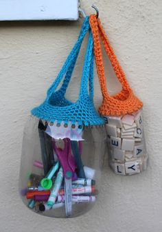 Filth Wizardry: Recycling containers with crochet  One could make hanging planters with these...