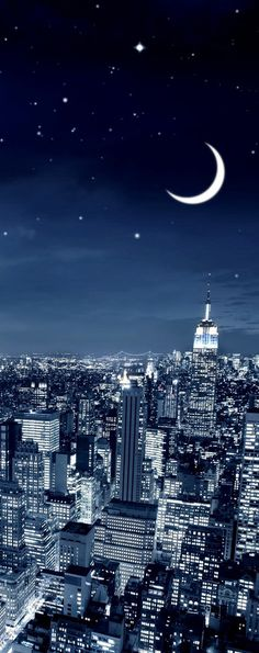 Moon over New York City, USA