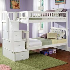 Found it at www.dcgstores.com - ♥ ♥ Columbia Twin Over Twin Bunk Bed w/ Storage Stairs ♥ ♥