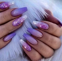 """If you're unfamiliar with nail trends and you hear the words """"coffin nails,"""" what comes to mind? It's not nails with coffins drawn on them. Although, that would be a cute look for Halloween. It's long nails with a square tip, and the look has. Purple Ombre Nails, Purple Acrylic Nails, Best Acrylic Nails, Summer Acrylic Nails, Purple Nail Art, Lilac Nails With Glitter, Glitter Ombre Nails, Purple Chrome Nails, Coffin Nails Ombre"""