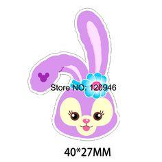 50pcs 40*27MM Kawaii Cartoon Purple Rabbit Flatback Resin Printed Planar Resin DIY Craft For Home Decoration Accessories 70428-3