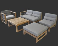 A Grade Teak And Stainless Steel Accents Make This Contemporary Patio  Furniture Collection Perfect For