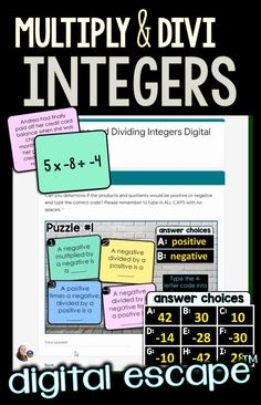 An engaging digital escape room for multiplying and dividing integers. Students must unlock 5 locks through simplifying 20 integer multiplication and division problems. Questions are grouped 4 per puzzle, resulting in five 4-letter codes that will unlock all 5 locks. -determe if two integers multiplied or divided would result in a positive or a negative -multiply 2 or 3 integers -divide 2 or 3 integers -multiply and divide 3 integers -integer multiplication and division word problems Multiplying And Dividing Integers, 7th Grade Math, Multiplication And Division, Escape Room, Word Problems, 5th Grades, Locks, Students, Puzzle