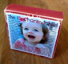 First Grandchild Poem for GRANDMA- PERSONALIZED Larger Photo Poem Blocks on Etsy, $22.50