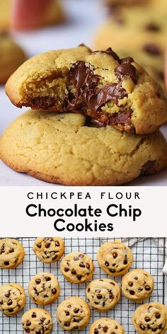 Magical chickpea flour chocolate chip cookies that are crispy on the outside, chewy on the inside and filled with puddles of dark chocolate. These easy chickpea flour cookies are dairy free, gluten free, grain free and easily vegan — they make the best healthier dessert! #cookies #glutenfree #grainfree #healthydessert #chocolatechipcookies Sweet Potato Recipes Healthy, Healthy Cookie Recipes, Healthy Cookies, Gluten Free Recipes, Gluten Free Cookies, Gluten Free Desserts, Healthy Desserts, Grain Free, Dairy Free