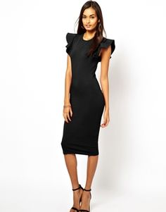 ASOS Bodycon Dress With Structured Ruffle Sleeve