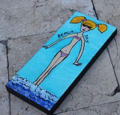 US Artist Animals Paintings Ocean Beach, Beach Day, Outsider Art, Animal Paintings, Bikini Girls, Folk Art, The Outsiders, Original Paintings, The Originals
