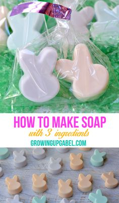 Wondering how to make soap? 3 ingredients only. Homemade soap is great for Easter baskets or Mother's Day gifts. Homemade Gifts, Diy Gifts, Homemade Soap For Kids, Homemade Easter Baskets, Unique Gifts, Easter Crafts, Crafts For Kids, Easter Gift, Easter Party
