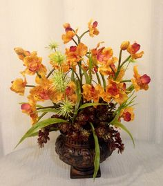 Vanda Orchid, Sedum Plant and Wild Thistle Arrangement in Resin Urn, Mustard and Burgundy, Home Office Decor Plant