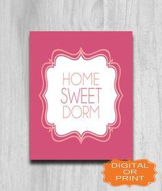 SALE Home Sweet Dorm Decor Digital DOWNLOAD PRINTABLE Art Print Gray Coral Pink 8x10 11x14