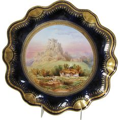 Antique English Cabinet Plate, Corfe Castle signed Birbeck, C Aynsley Painted Trays, Hand Painted Plates, Decorative Accents, Decorative Plates, Corfe Castle, English Country Style, Antique Plates, Households, Objet D'art