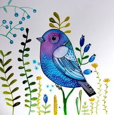 Blue sparrow, fantasy bird, wall art, nursery decor, blue purple tones on Etsy, $24.99