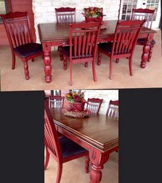 Sisters Revamp Ranch - Chanel Red - Ideas of Chanel Red - Sisters Revamp Ranch Red Kitchen Tables, Painted Kitchen Tables, Kitchen Decor, Kitchen Ideas, Refurbished Furniture, Furniture Makeover, Cool Furniture, Painted Furniture, Dining Table Makeover