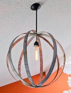 Wine Barrel Ring Chandelier | 20 DIY Chandeliers