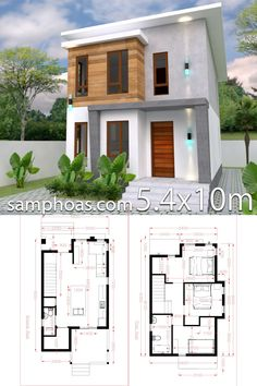 Architecture House Small Small Home design Plan with 3 Bedroom - SamPhoas Plansearch 2 Storey House Design, Duplex House Design, Duplex House Plans, Simple House Design, House Front Design, Bedroom House Plans, Tiny House Plans, Tiny House Design, Modern House Design
