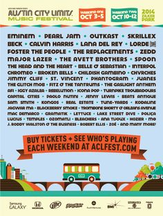 #ACL Austin City Limits 2014 #Lineup http://www.aclfestival.com/