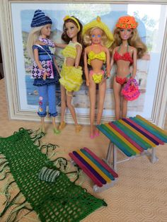 Accessoires d'été pour Barbie, maillots de bains, table, banc, jupe, pantalon : Jeux, jouets par la-boutique-des-poupees