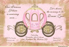 Your princess is arriving soon - celebrate with this pink weathered damask fairytale baby shower invitation!