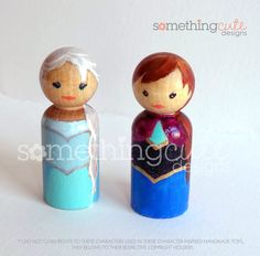 Set of Frozen inspired wooden peg dolls