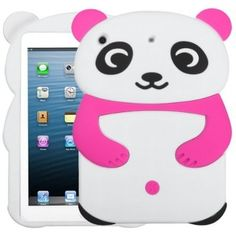HOT PINK Cute Panda Silicone Skin Soft Gel Cover Case for iPad Mini