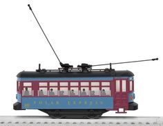 """The Polar Express Trolley     Features      Bumper-controlled forward and reverse operation     Operating LED headlights     Interior lighting     Silhouettes of children on windows     Maintenance-free motor     Traction tire     Two adjustable trolley poles on roof  Gauge: Traditional O Gauge Dimensions: Length: 6 ¾"""" Minimum Curve: O-27"""