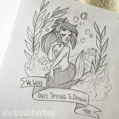 regram @winklebeebee May 25th #dailydrawing [Drown]. I think I'm gonna turn this into a full color illustration when I have time for some personal work! #art #artstagram #drawing #illustration #sketch #sketchbook #sketching #wip #prismacolor #mermaid #peterpan #disney #design #instaart #igdraws #creative_instaarts #sketch_daily #abeautifulmessapp