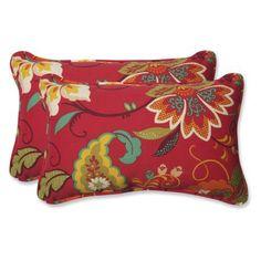 Pillow Perfect Outdoor/ Indoor Tamariu Alfresco Valencia Rectangular Throw Pillow (Set of 2), Red