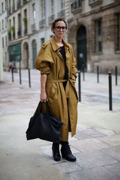 love her slouchy coat and bag to match