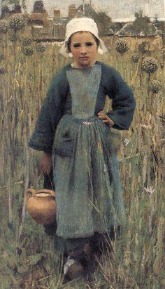 https://flic.kr/p/2V3oz6 | george clausen: breton girl carrying a jug | clausen. 1882. oil painting. 18x10.
