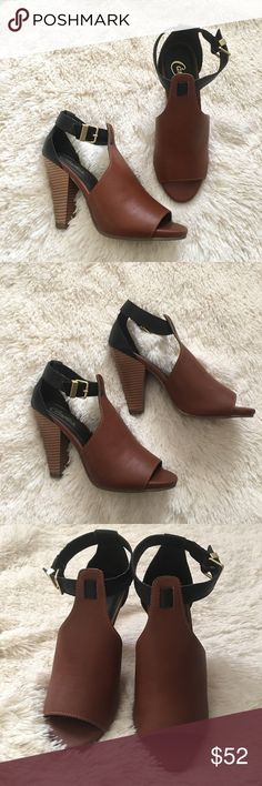 Color Block Peep Toe Heels New, will come without box. Beautiful cognac brown and black with gold hardware. Peep toe. Size 6.5. Materials: man made / textile. Heel is 4 inches. Candie's Shoes Heels