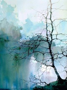 Tree branches in misty blue sky and clouds. Easy Watercolor Painting Ideas for Beginners
