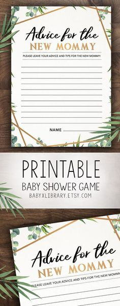 Advice for the New Mommy, Baby Shower Game Printable, Baby Shower Instant Download, Gender Neutral Baby Shower Games, Greenery Baby Shower