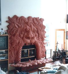GFRG Fireplaces by Stromberg Architectural Products Sculptures, Lion Sculpture, Cad File, Cast Stone, Glass Animals, Gypsum, Fireplace Mantle, Architectural Digest, Stained Glass