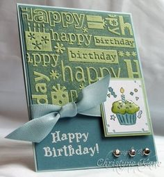 Good idea with the embossing folder.  This was made for her manfriend.  Must have a bit more of a look into the technique she referred to as Negative Effect (if I understood the blog correctly, she inked up the embossing folder before running it through her Cuttlebug?).