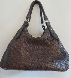 COLE HAAN WOVEN LEATHER CHOC BROWN TRIANGLE GENEVIEVE HOBO BAG OPTICAL WEAVE