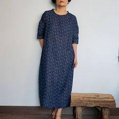Drop Shoulder Navy Blue Dress/Wrinkled Cotton Gauze