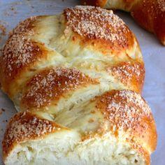 Pan Trenza (Braided Bread) Recipe Breads with all-purpose flour, sugar, salt, rapid rise yeast, vegetable oil, luke warm water, eggs, parmesan cheese