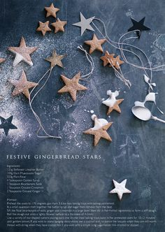 Rowen & Wren recipe for gingerbread stars that double up as Christmas decoration and a yummy treat Christmas Mood, Little Christmas, Christmas Desserts, Christmas Treats, Christmas Baking, All Things Christmas, Christmas Cookies, Christmas Decorations, Christmas Stars