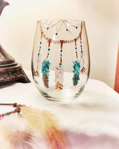 Hand painted wine glass boho dreamcatcher gypsy by girlUPcycled, $24.00