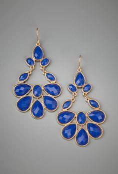 LOLA Faceted Chandelier Earrings - Cobalt