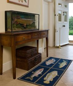 Elizabeth Bradley Fishes Needlepoint Rug