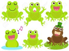 A Colorful Theme Of Cute Icons : Frog In The Pond Royalty Free ...