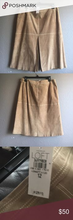 🌺Ann Taylor Loft 🌺Suede Skirt sz 12 length 24 🌺Beautiful Sandstone Suede pencil  fitted skirt . Can be dressed up or down for your fashion sense . Sexy side zip & split part way up the front Loft Skirts Midi